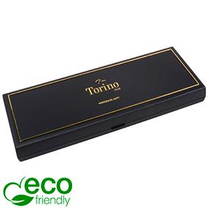Torino ECO smyckesask till Collier, Avlång Svart återvunnen plast/guldkant / Svart skuminsats 205 x 72 x 23 (204 x 74 x 3 mm)