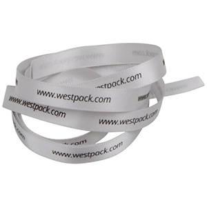Satinband med upphöjt tryck Silver  9 mm x 91,4 m