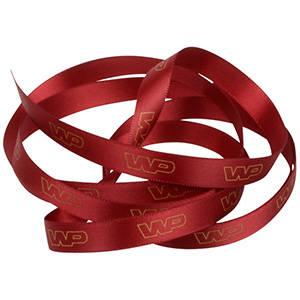 Satin ribbon with raised print, narrow Bordeaux-red  9 mm x 91,4 m