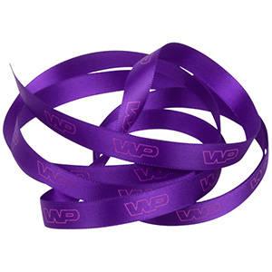Satin ribbon with raised print, narrow Purple  9 mm x 91,4 m