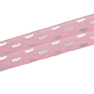 Organzabånd med hævet tryk Pink  25 mm x 45,7 m