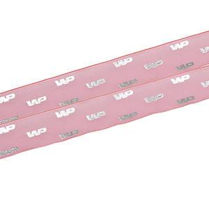 Organza band med upphöjt tryck Pink  25 mm x 45,7 m