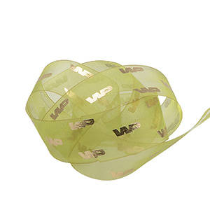 Organza ribbon with print raised Lime  25 mm x 45,7 m