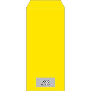 Reparationspose med logotryk Gul pose, trykt med sort logo 110 x 240