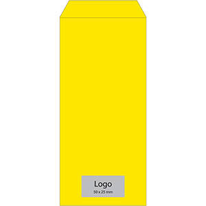 Torebki reparacyjne z nadrukiem logo Żółta  torebka z logo w kolorze czarnym 110 x 240