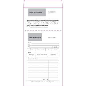 Sachets réparation préimprimé, pour bijoux Sachet blanc numéroté avec reçu/ Texte néerlandais 110 x 240