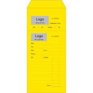 Fortrykt guldsmedsreparationspose med logotryk Nummereret gul pose med afrivning / dansk tekst 110 x 240
