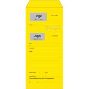 Förtryckt Reparationspåse för smycken, med logo Numrerad gul påse med avrivning/ Svensk text 110 x 240