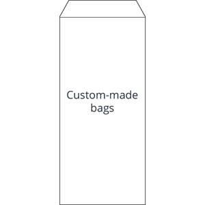 Torebka reparacyjna nadruk według projektu klienta Biała torebka z czarnym nadrukiem 110 x 240