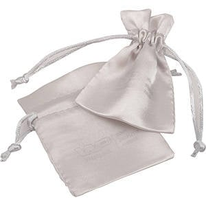 Satin Pouch with  Branding on Pouch, Mini Silver satin 75 x 90