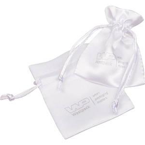 Satinpose med logotryk på pose, mini Hvid satin 75 x 90