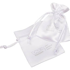 Satin Pouch with  Branding on Pouch, Mini White satin 75 x 90