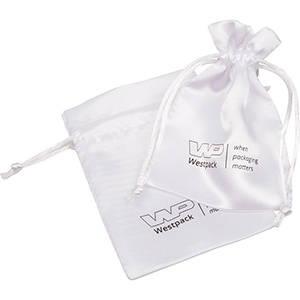Satinpose med logotryk på pose, lille Hvid satin 90 x 120