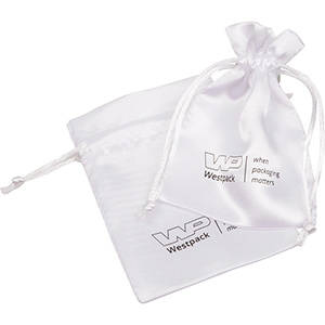 Satin Pouch with  Branding on Pouch, Small White satin 90 x 120