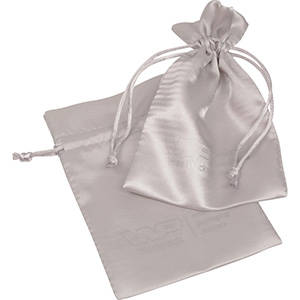 Satin Pouch with  Branding on Pouch, Medium Silver satin 110 x 155