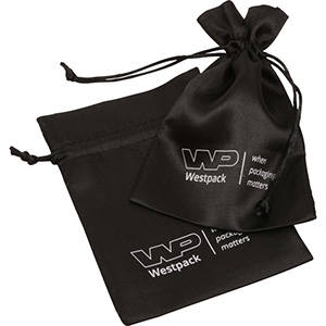 Satin Pouch with  Branding on Pouch, Medium Black satin 110 x 155