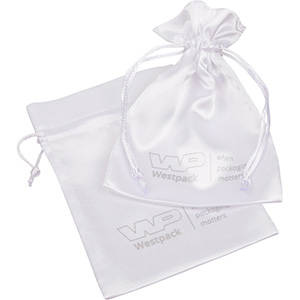 Satin Pouch with  Branding on Pouch, Medium White satin 110 x 155