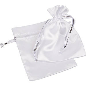 Satin Pouch, Logo Print on Ribbon, Medium