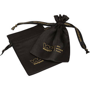 Satin Pouch, Logo Print on Bag and Ribbon, Medium