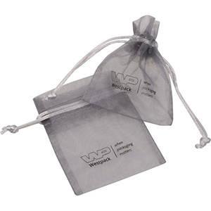 Mini organzapose med logotryk på pose Sølvgrå 70 x 90