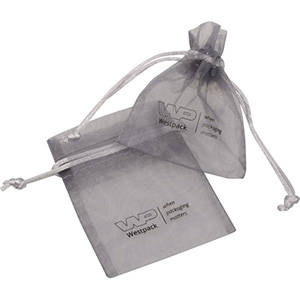 Sakiewka z organdyny, mini, nadruk na sakiewce Kolor srebrny 70 x 90