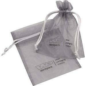 Lille organzapose med logotryk på pose Sølvgrå 90 x 120