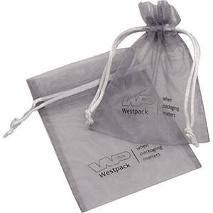 Organza Pouch, Small, Logo Print on Bag Silver Grey 90 x 120