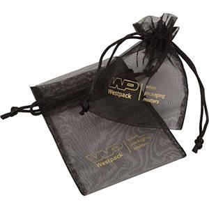 Organza Pouch, Small, Logo Print on Bag Black 90 x 120