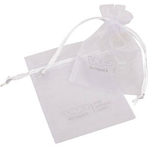 Organza Pouch, Small, Logo Print on Bag