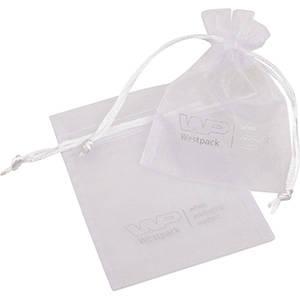 Sakiewka z org, mała, logo na sakiewce Kolor biały 90 x 120