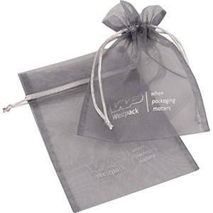 Organza Pouch Medium, Logo Print on Bag Silver Grey 120 x 170