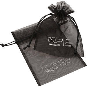 Organza Pouch Medium, Logo Print on Bag Black 120 x 170
