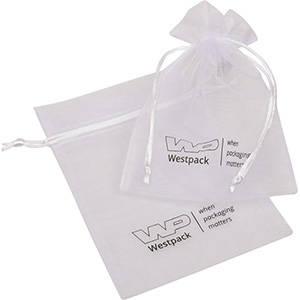 Organza Pouch Medium, Logo Print on Bag White 120 x 170