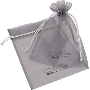 Organza Pouch Large, Logo Print on Bag Silver Grey 180 x 240
