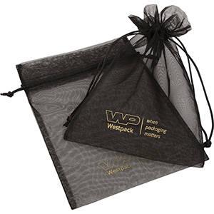 Organza Pouch Large, Logo Print on Bag Black 180 x 240
