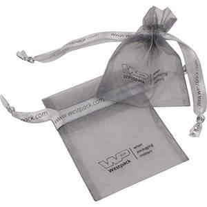 Organza Pouch, mini, Logo Print on Bag and Ribbon