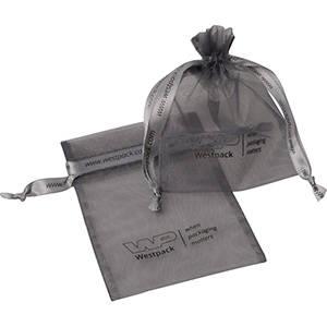 Petite Bourse voile organdi, logo sur bourse+ruban