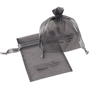 Organza Pouch, Small, Logo Print on Bag and Ribbon
