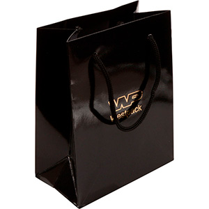Glossy carrier bag with handle, small Black paper 146 x 114 x 63