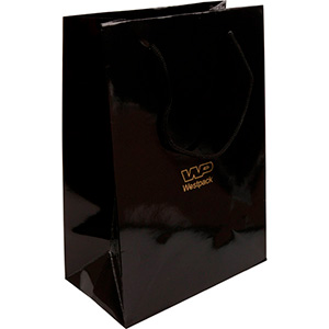 Glossy carrier bag with handle, large Black paper 250 x 180 x 100