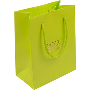 Matt carrier bag with handle, small Lime green paper 146 x 114 x 63