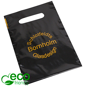 Bedrukte ECO plastic draagtasjes, mini Glanzend zwart gerecycled plastic/ Logo in 1 kleur 180 x 250 50 my