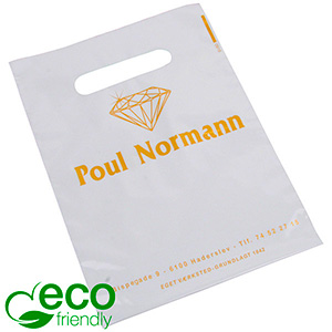 Branded carrier bags in sturdy plastic, small Glossy white plastic, with print in 1 colour 180 x 250 50 my
