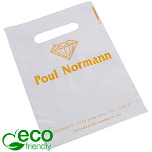 Bedrukte ECO plastic draagtasjes, mini Glanzend wit gerecycled plastic/ Logo in 1 kleur 180 x 250 50 my