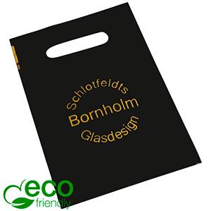 Bedrukte ECO plastic draagtasjes, mini Mat zwart gerecycled plastic/ Logo in 1 kleur 180 x 250 50 my
