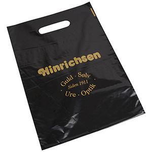 Plastic draagtasjes met logo, medium Glanzend zwart plastic, met bedrukking in 1 kleur 250 x 350 35 my