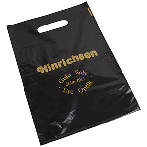 Branded carrier bags in plastic, medium Glossy black plastic, with print in 1 colour 250 x 350 35 my
