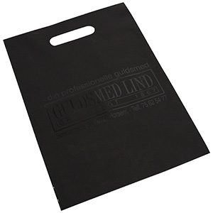 Branded carrier bags in plastic, medium Matt black plastic, with print in 1 colour 250 x 350 35 my
