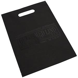 Branded carrier bags in plastic, medium Matt black plastic, with print in 1 colour 250 x 350 35 my