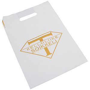 Branded carrier bags in plastic, medium Matt white plastic, with print in 1 colour 250 x 350 35 my